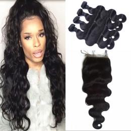 extensiones de pelo de seda Rebajas Cierre de base de seda Virgin Body Wave 13x4 con 4 lotes de color natural Se puede teñir Extensiones de cabello humano camboyano FDSHINE