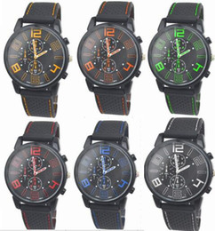 Wholesale Watch Gt - Wholesale 50pcs lot Mix 6Colors Men Causal SPORT Military Pilot Aviator Army Silicone GT Watch RW017