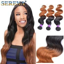 Wholesale Cheap Two Tone Blonde Hair - Best Ombre Hair Weave Two Tone Blonde 1B 30 Brazilian Body Wave Human Hairs Weave Bundles Cheap Hair Extensions Dark Honey Blonde Hair