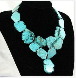 Argentina Colgante de 2 hilos mujer collar 20x35 mm turquesa natural piedra rebanada gruesa supplier thick women necklace Suministro