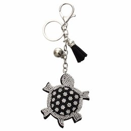 Wholesale Tortoise Rhinestone Keychains - Fashion Key Chain Rhinestone Tortoise Pendant Leather Tassel Alloy Bag Key Ring Holder Souvenirs Women Silver Key Chain