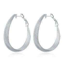 Wholesale Simple Earings - Circle Hoop Earrings 925 Silver Plated Earrings Woven Braided surface Exaggerated Earrings For Women Earings Simple Huggie jewelry E064