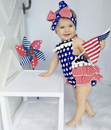 Wholesale Flag Romper - Baby Clothing Newborn Flag Romper Clothes Baby Girl Ruffle Skirted Kids Jumpsuit Outfit 8 p l