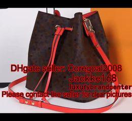 Wholesale Black Leather Drawstring Handbag - new HOT red black pink NEONOE M44021 M44020 M44022 PURSE cross body women's calfskin leather Drawstring bucket handbag luxury shoulder bag