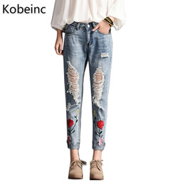 Wholesale Tear Jeans For Women - Wholesale- Kobeinc Floral Embroidered Ripped Jeans For Women Summer 2017 New Fashion High Waist Slim-Fit Cropped Jeans Trousers Torn Jeans