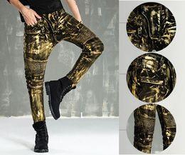 Wholesale Denim Flare Jeans - New Hot autumn and winter paint gold coating motorcycle locomotive Biker jeans men Slim stretch Denim Jeans Skinny Jeans Men