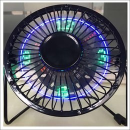 Wholesale Usb Table Fan - New and hot table top LED clock Flod fan USB fan with watch temperature USB connector 5V ventilator fan