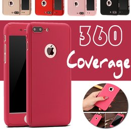 Wholesale Iphone Case Wholesale Free Shipping - 360 Degree Coverage Tempered Glass Screen protector Hard PC Case Cover Full Body For iPhone 7 Plus 6 6S SE 5S With No Hole Free Shipping 10p