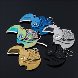 Wholesale Wholesale Letter Openers - Coins Folding Knife Fixed Blade Key Chain Letter Opener Outdoor Survival Camp Tactical Hunting Pocket Knives EDC Tool Neck Keychain Knife