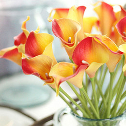 Wholesale Lighted Calla Lily - 30pcs lot Artificial Calla lily Real Touch bride Bouquet flower Home Wedding Decor Flowers & Wreaths 10 colors mix color