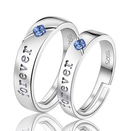 Wholesale Sale Jewellry Set - Hot Sale high quality 925 Silver Ring Set Fashion Jewellry for Women Men Blue Crystal Silver Couple Rings Jewelry anel masculino JZ121