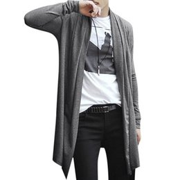 Wholesale Cardigan Open - Wholesale-2016 NEW mens hoodies and sweatshirts sudaderas hombre hoodie Long Cardigan Shawl Collar Front Opening Side