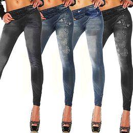 Wholesale Look Fit - Wholesale- New Womens Leggings Jeggings Womens Fashion Denim Look Fit Size 6 8 10 12
