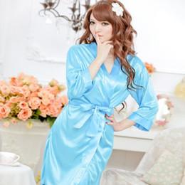 Wholesale Intimate Night Lingerie - Wholesale- 1pcs Women Sexy Satin Lace Robe Sleepwear Lingerie Nightdress Kimono Intimate Night Gown Sex Products