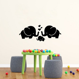Wholesale Cute Decor - Cute Elephant Hearts Family Wall Decals for Baby Room Decor Kids Room Wall Stickers