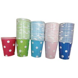 Wholesale polka cups paper - Wholesale-20pcs Lot Disposable Polka Dots Paper Cups of Degradable Wedding kids Birthday Party Festival Christmas Decoration