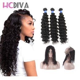 Wholesale Thick Bundle Brazilian Hair - 7A Brazilian Virgin Hair Bundles Deep Wave Hair 360 Lace Frontal with 3 Bundles 100% Unprocessed Virgin Human Hair Extensions Dyeable Thick