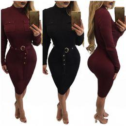 Wholesale Womens Waist Belts - Womens Sexy Club Bodycon Bandage Dresses With Long Sleeve For Ladies Autumn Winter Fashion High Waist Slim Knitting Belt Dress XL