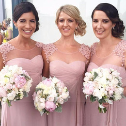 Wholesale Long Dusty Rose Dress - 2017 Scoop Neck Chiffon A-lline Long Bridesmaid Dresses Dusty Rose Pink Maid of Honor Dresses Wedding Party Gowns