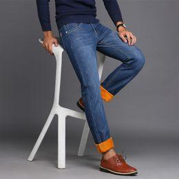 Wholesale Cheap Plaid Pants For Men - Wholesale-2016 Cheap Price Mens Winter Fleece Jeans Lined Stretch Denim WarmJeans For Men Designer Slim Fit Brand Trousers Pants Jeans