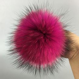 Wholesale Real Fur Pieces - 50 pieces  set 13cm Natural raccoon fur ball key chain hat Fur pom pom for shoes 100% real fur cap accessories
