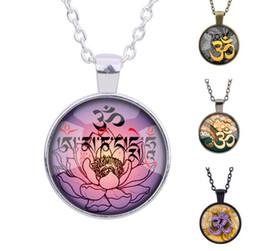 Wholesale Yoga Meditation Pendant - Original OM Yoga Necklace Meditation Lotus Vintage Timestone Pendant Male Female Black Bronze Silver Chain Gift