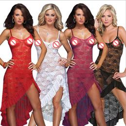 Wholesale Nightdress See Through - Women Sexy Pyjamas Lace Long Nightdress Irregular Spaghetti Strap Hollow Out Lingerie See-Through Temptation Femininas Adulto Disfraces