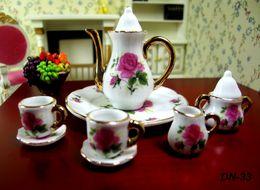 Wholesale Dollhouse Cups - 8pcs Dollhouse Miniature China teaware Furniture Toys Accessories Mini Porcelain Coffee Tea Cup pot dish Set for 1:6 doll house model gift