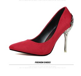 Wholesale Korean Sexy High Heels - Korean fashion sexy carved metal with fine shoes with high heeled suede shallow mouth pointed shoes shoes