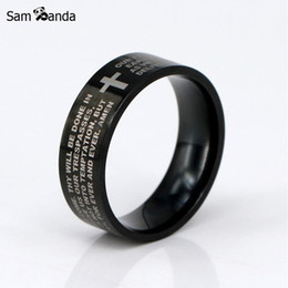 Wholesale Ring Cross Black - New English The Lord's Prayer Vintage Ring Men   Women Stainless Steel Cross Jewelry Mens Black Jesus Titanium Rings YK3050