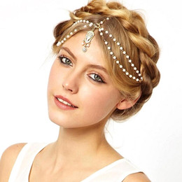 Wholesale Metal Chains Cheap - 2017 Beautiful Wedding Bridal Hair Accessories Cheapest Free Shipping Metal Beaded Pearls Head Chain Indian Women Hair Jewelry Cheap