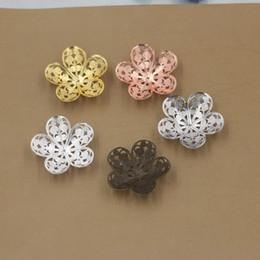 Canada 07874 25mm bronze antique / argent / or rose / pistolet noir en filigrane fleur capuchon perle breloques pour la fabrication de bijoux Offre