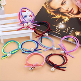 Wholesale Gift String Band - Double rope knotted hair ring Korean hair bow string exquisite jewelry durable gift color random delivery