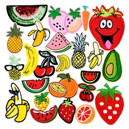 Wholesale Random Fruit - 10 pcs Random Diy fruit patches for clothing iron embroidered patch applique iron on patches sewing accessories badge for clothes bag