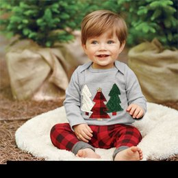 Wholesale Children Winter Suit Outfit - Children Christmas Outfits Infant Baby Xmas Tree Print T-shirt With Matching Red Plaid Long Pants Two Piece Sets Kids Cotton Clothing Suit
