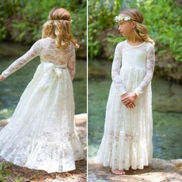 Wholesale Long Cream Prom Dresses - 2017 Girl Lace Long Maxi Dress Print Rose For Age Baby Kids Princess Wedding Prom Party White Cream Big Bow Long Sleeved Dresses