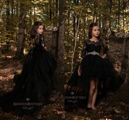 Wholesale Elegant Children Dresses - Black Elegant Girls Pageant Dresses 2018 A Line Hi-lo Tiered Tulle Lace Applique Unique Designer Child Flower Girls Dresses For Wedding