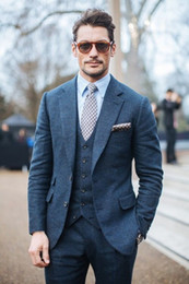 giacche invernali per gli uomini a buon mercato Sconti Smoking da sposa inverno Abiti slim fit per uomo Suit da sposo tre pezzi Harris Tweed economici abiti da ballo (giacca + pantaloni + gilet)