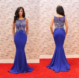 Wholesale Hot Pink Modest Prom Dress - Modest Royal Blue Prom Party Dresses Mermaid Heavy Crystal Satin Red Carpet Evening Gowns Hot Sale 2017 Custom Made