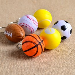 Wholesale Cheap Baseball Gifts - Cheap Football basketball baseball table tennis PU keychain toys, fashion sports item key chains jewelry gift for boys and girls