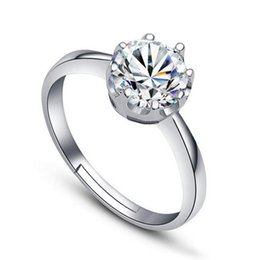 Wholesale Natural Diamonds Ring - 925 Silver Plated Rings Natural Crystal CZ Diamond Crown Ring Valentine's Day Give Women Gift Jewelry D55