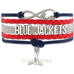 Marineblaue lederjacken online-Custom-Infinity Blue Jackets Armbänder Hockey Charm Wrap Geschenke für Hockey Fans Navy Red Wachs Suede Leather Custom alle Themen