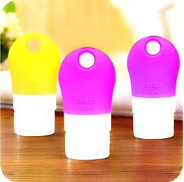 Wholesale Empty Shampoo Bottles - Wholesale 100PCS Mini Squeezable Silicone Travel Bottle Portable Empty Lotion Shampoo Bath Container Refillable Bottles with Hole Hanging
