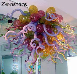 24 zoll rundes glas Rabatt Moderne Kunst Murano Glas Kronleuchter 32 Zoll Runde Blasen handgemachte mundgeblasene Glas Kronleuchter LED Kronleuchter Beleuchtung