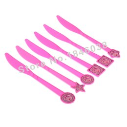 Wholesale Princess Party Themes - Wholesale-6pcs pack Princess Ice Cream Theme Party Plastic Knife Birthday Party Economic and affordable Festival Decroation Supplies