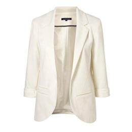Wholesale Blazer Women Fashion Pink - 2017 Spring Fashion Women 7 Colors Slim Fit Blazer Jackets Notched Three Quarter Sleeve Blazer Women Coat