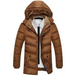 Wholesale Men Fur Thickening Coat - winter men jacket down parkas medium-long coats hooded thickening warm outwear overcoat fur collar snow coat windbreak plus size 3xl