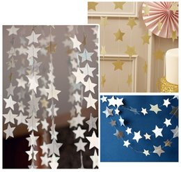 Wholesale Friends Decor - 4m Star Paper Garland Banner Bunting Drop Baby Shower Wedding Party Decor for chirldren roon  friend gift