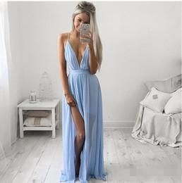 Wholesale Long Baby Blue Prom Dresses - Sexy Deep V-neck Baby Blue Prom Dresses Chiffon Spaghetti Straps High Split Girls Graduation Party Dress evening dresses