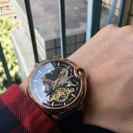 Wholesale Camel Time - 2017 men's automatic mechanical watch Hollow diameter 45MM stainless steel case cowhide strap men luxury Wristwatches
